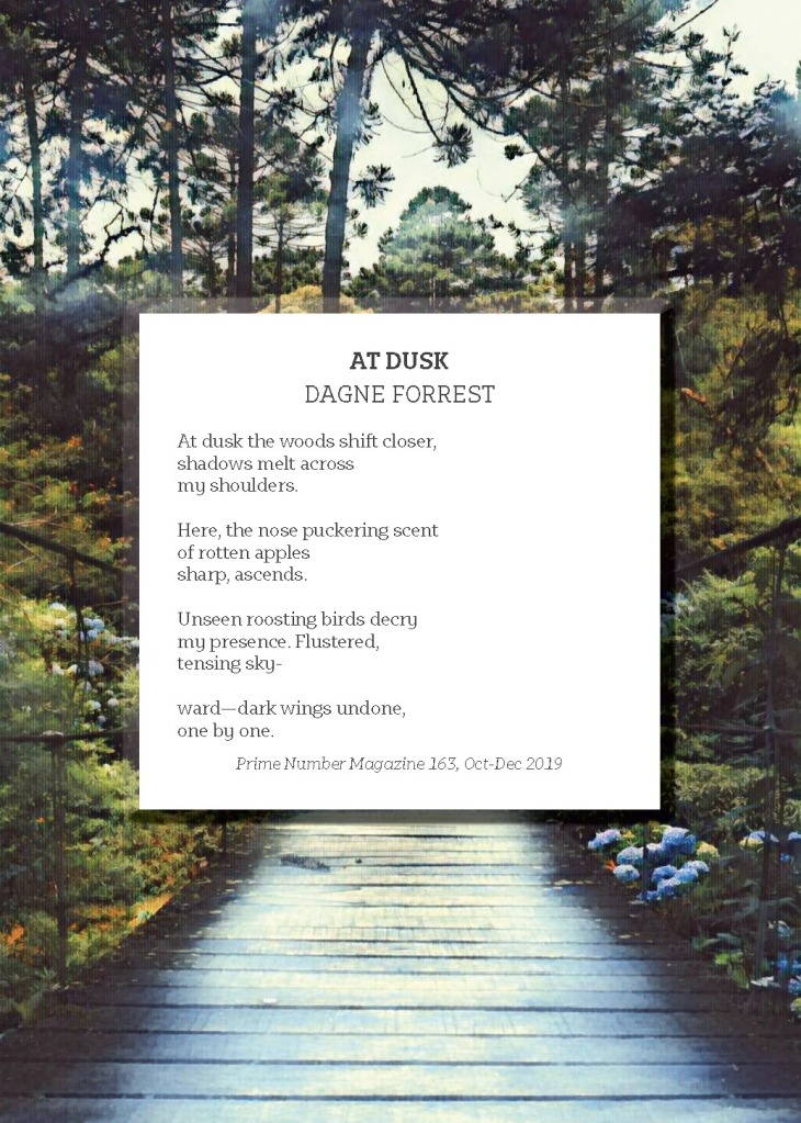 "Postcard cover of ""At Dusk"" by Dagne Forrest"